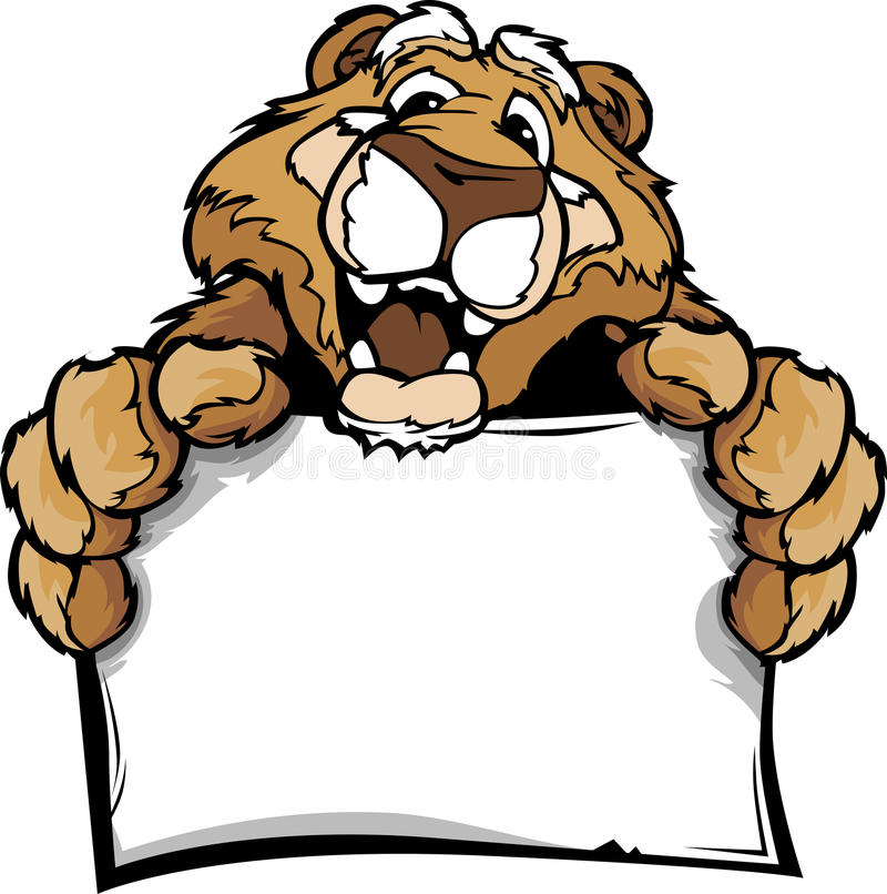 Download Cartoon Of A Happy Cute Cougar Mascot Holding Sign Stock Vector - Illustration: 24271811