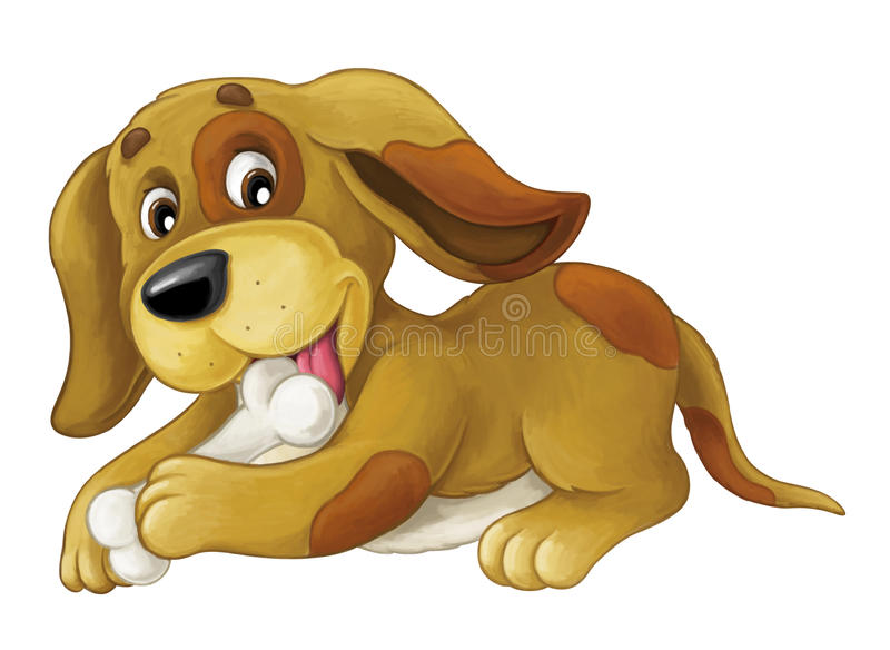 Cartoon happy dog is lying down - licking bone and looking - artistic style -. Happy and funny traditional scene for different usage stock illustration
