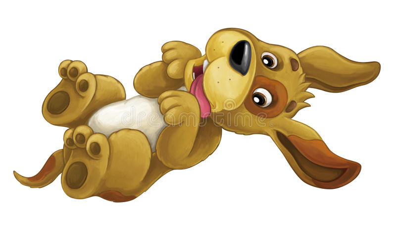 Cartoon happy dog is lying down - resting smiling and looking - artistic style -. Happy and funny traditional scene for different usage - for different fary stock illustration