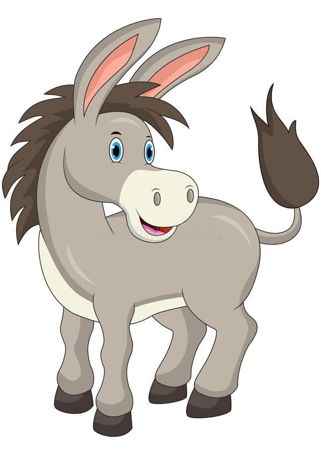 Cartoon happy donkey isolated on white background vector illustration