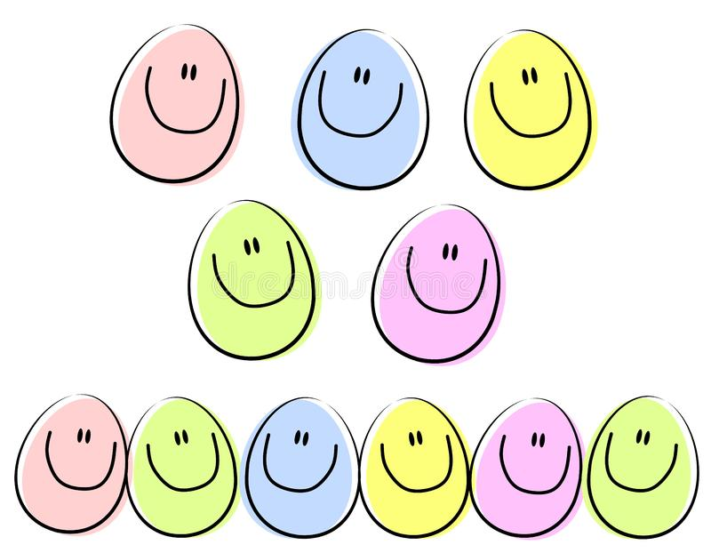 Cartoon Happy Face Easter Eggs royalty free stock photography