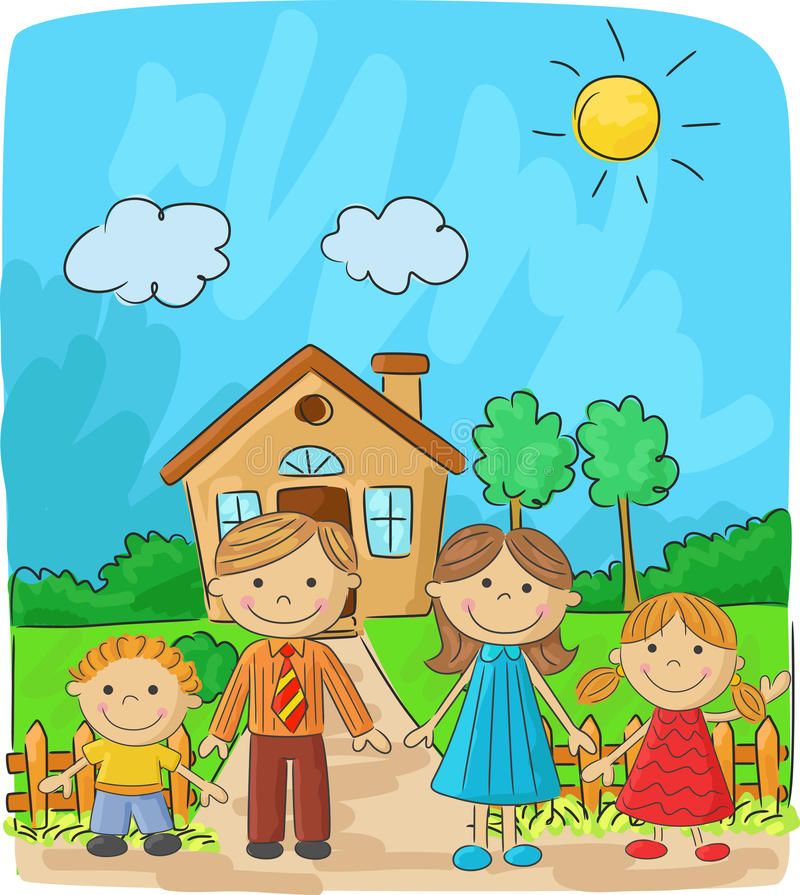 Cartoon Happy family against a landscape and the house vector illustration