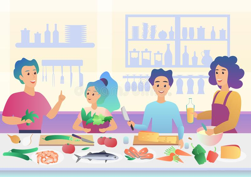 Cartoon happy family cooking. Mother and father parents with kids children cook food in kitchen cartoon gradient vector stock illustration