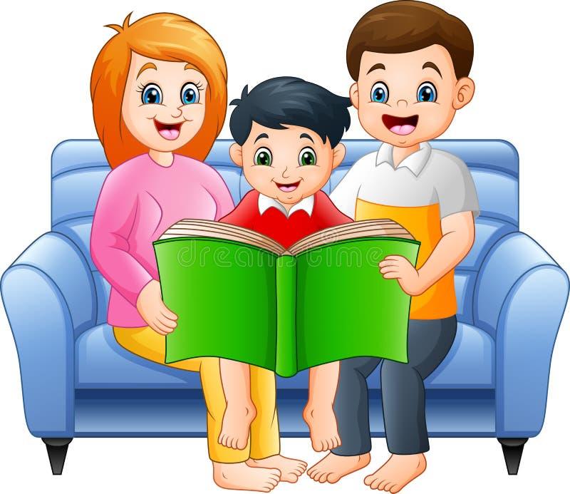 Cartoon happy family reading a book vector illustration