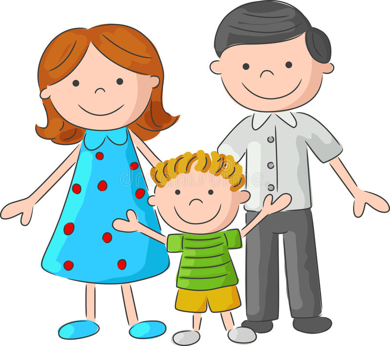 Cartoon Happy family sketch royalty free illustration