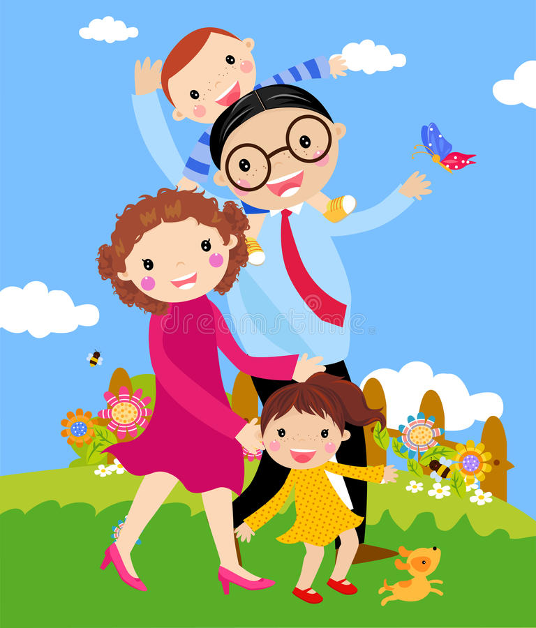 Download Cartoon Of Happy Family Walking Outdoors With Dog. Stock Images - Image: 18524664