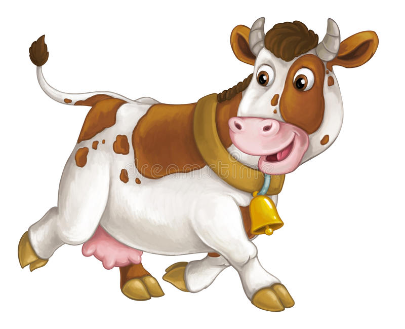 Cartoon happy farm animal - cheerful cow is running smiling and looking - artistic style - isolated. Happy and funny traditional scene for different usage - for royalty free illustration