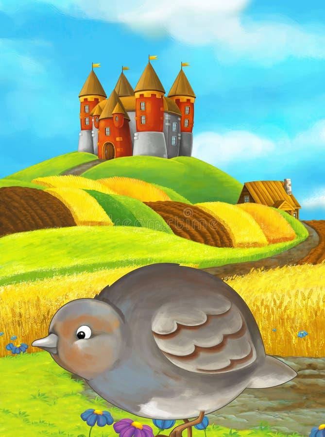 Cartoon happy farm scene with cute bird and castle stock illustration