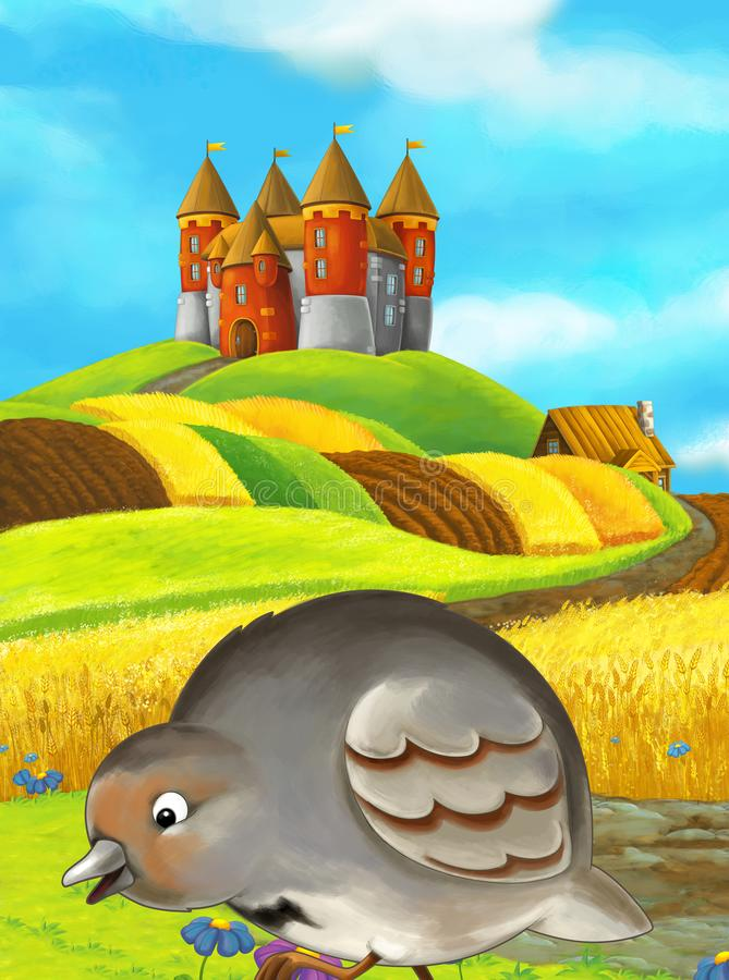 Cartoon happy farm scene with cute bird and castle vector illustration