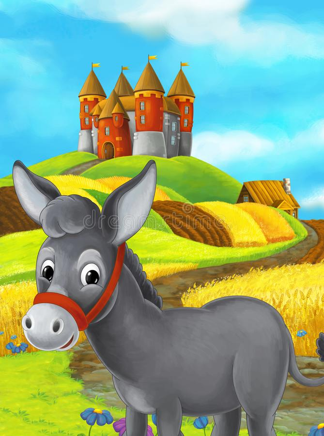 Cartoon happy farm scene with donkey and castle in the background stock illustration