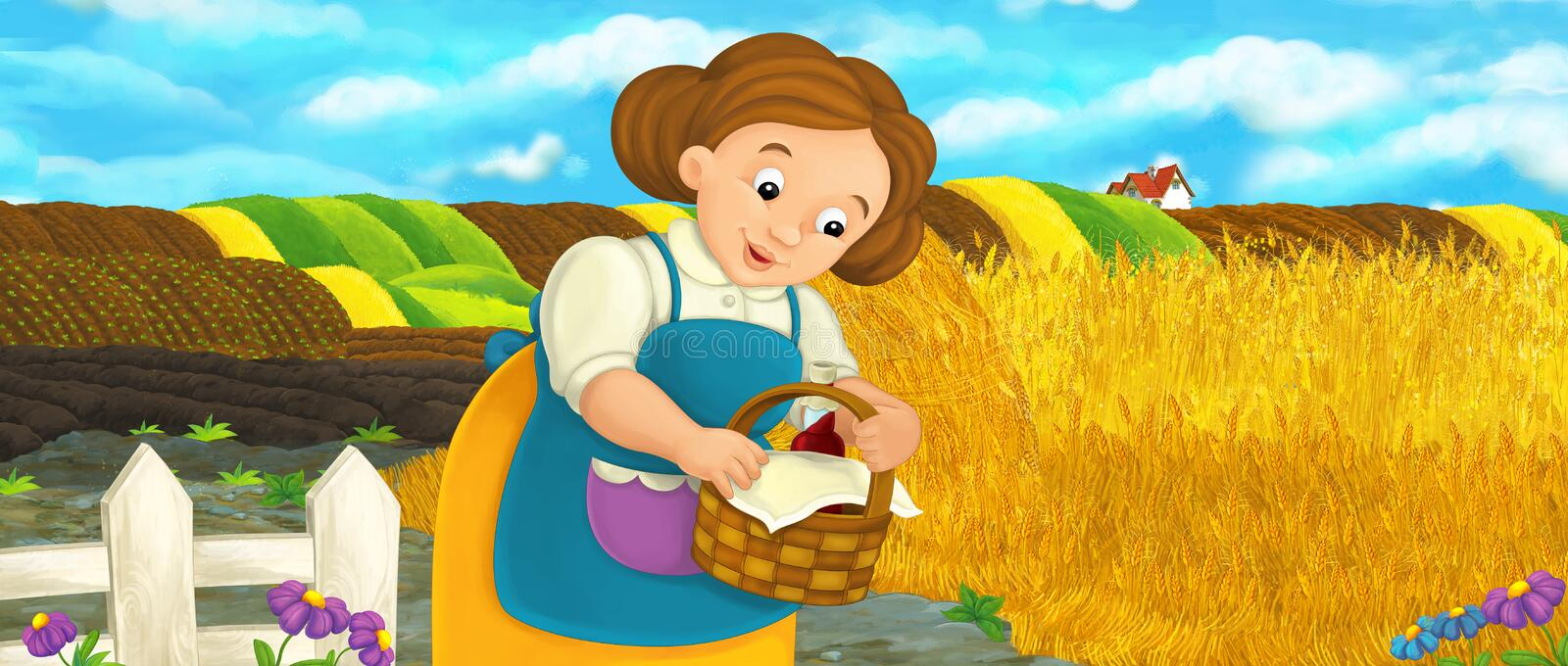 Cartoon happy farm scene with farm woman on the farm field with food basket. Happy and funny traditional illustration for children - scene for different usage stock illustration