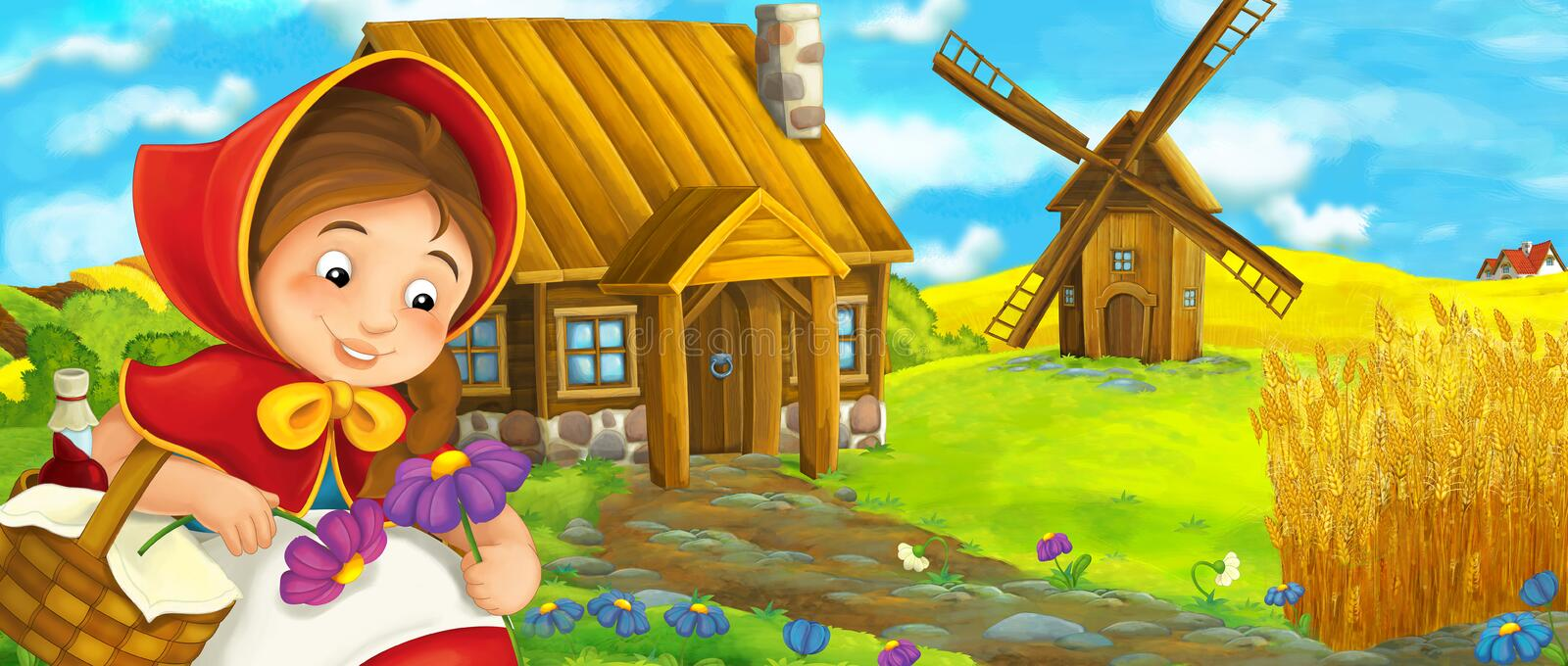 Cartoon happy farm scene with girl child near the farm house and windmill. Happy and funny traditional illustration for children - scene for different usage vector illustration