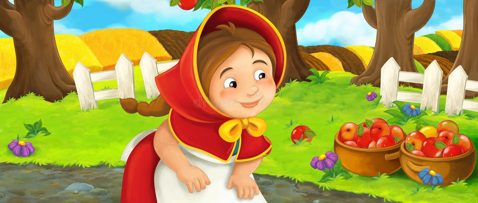 Cartoon happy farm scene with young girl near the orchard beautiful day. Happy and funny traditional illustration for children - scene for different usage stock illustration