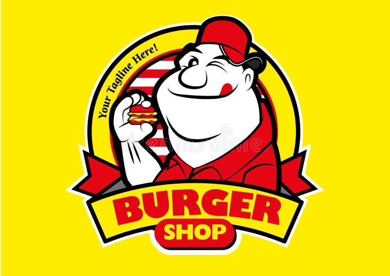 Cartoon Happy Fett Mann essen Burger stock abbildung