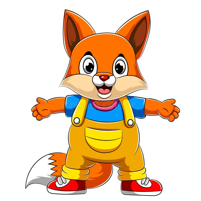 Cartoon happy fox with waving hand stock illustration