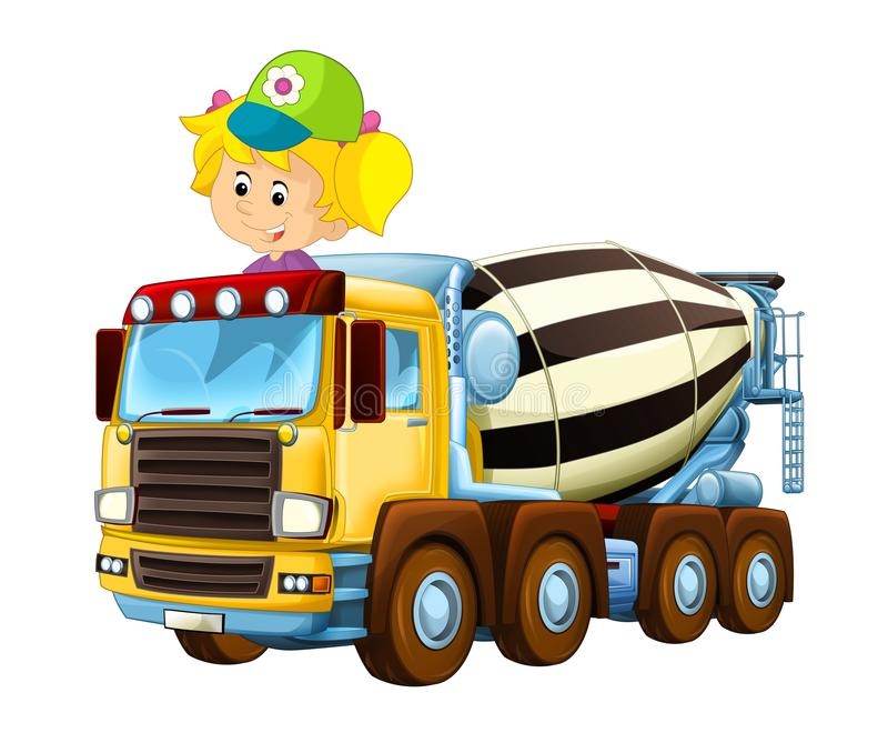 Cartoon happy and funny child - girl in toy construction site truck - on white background. Illustration for children vector illustration