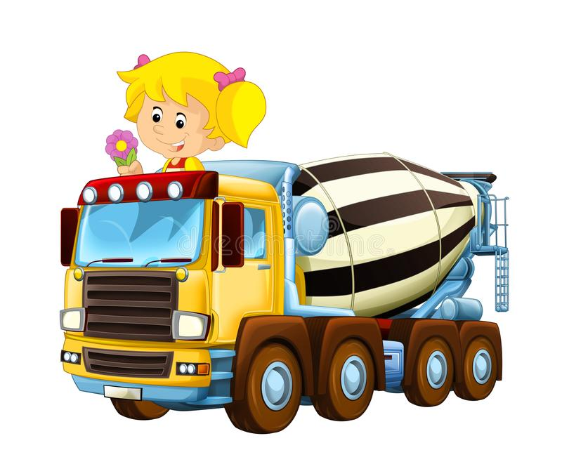 Cartoon happy and funny child - girl in toy construction site truck - on white background. Illustration for children royalty free illustration