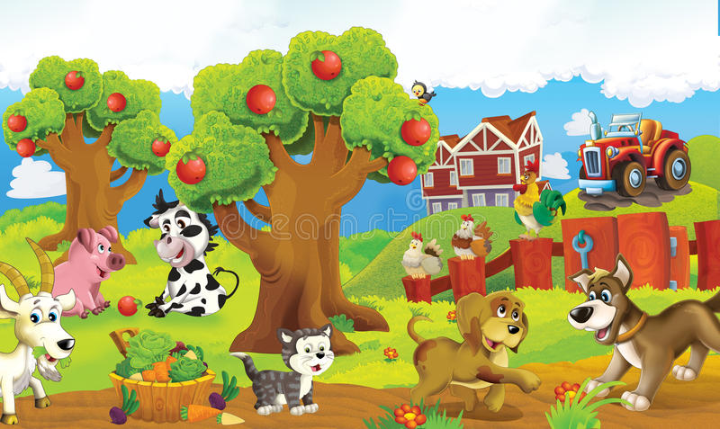 Cartoon happy and funny colorful farm scene - animals on the stage. Happy and colorful traditional illustration for children - scene for different usage stock illustration