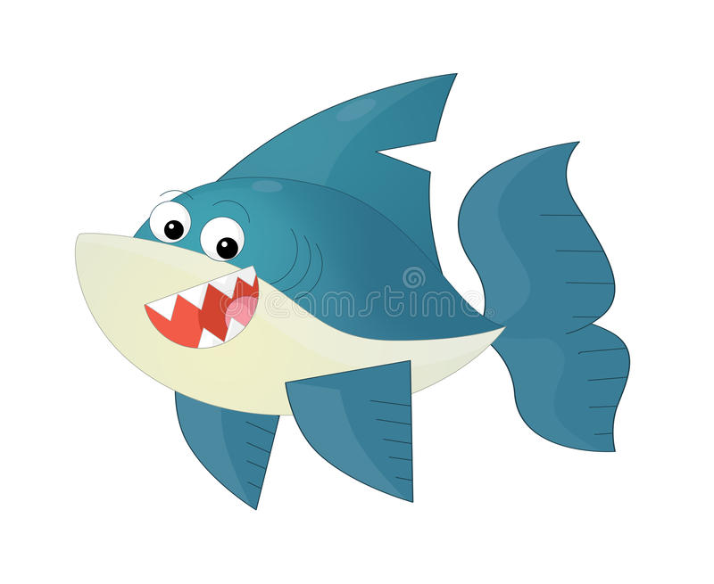Cartoon happy and funny sea shark isolated. Beautiful and colorful illustration for the children - for different usage - for fairy tales royalty free illustration