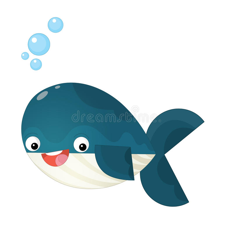Cartoon happy and funny sea whale spraying water. Beautiful and colorful illustration for the children - for different usage - for fairy tales stock illustration