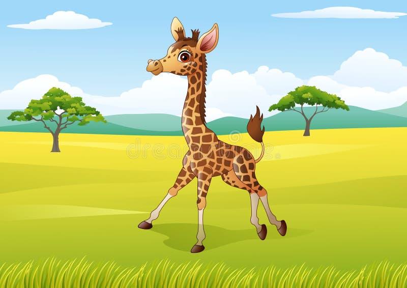Cartoon Happy giraffe in the jungle stock illustration