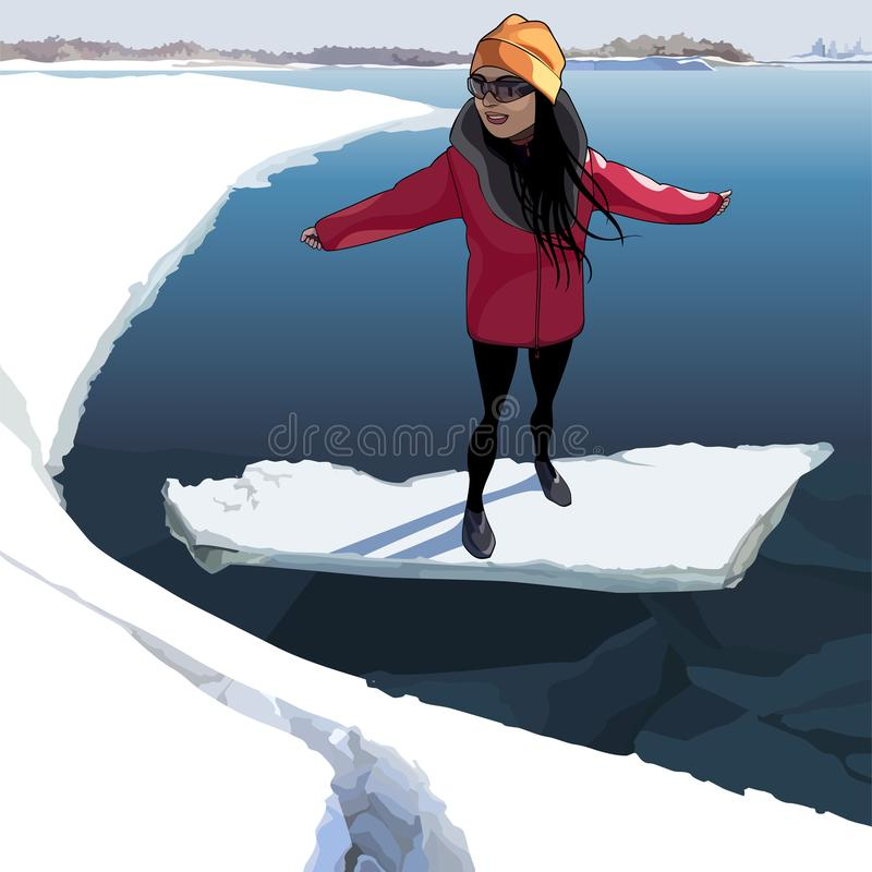 Cartoon happy girl on the ice that floats on the river royalty free illustration