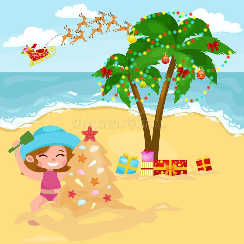 Cartoon happy girl playing in sand and building Christmas fir tree royalty free illustration