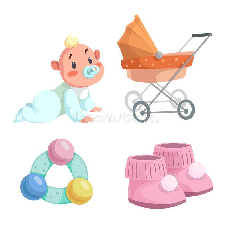 Cartoon happy infancy set. Baby boy with dummy crawl, orange bed pram, circle rattle with colorful balls and baby booties. Vector illustration vector illustration
