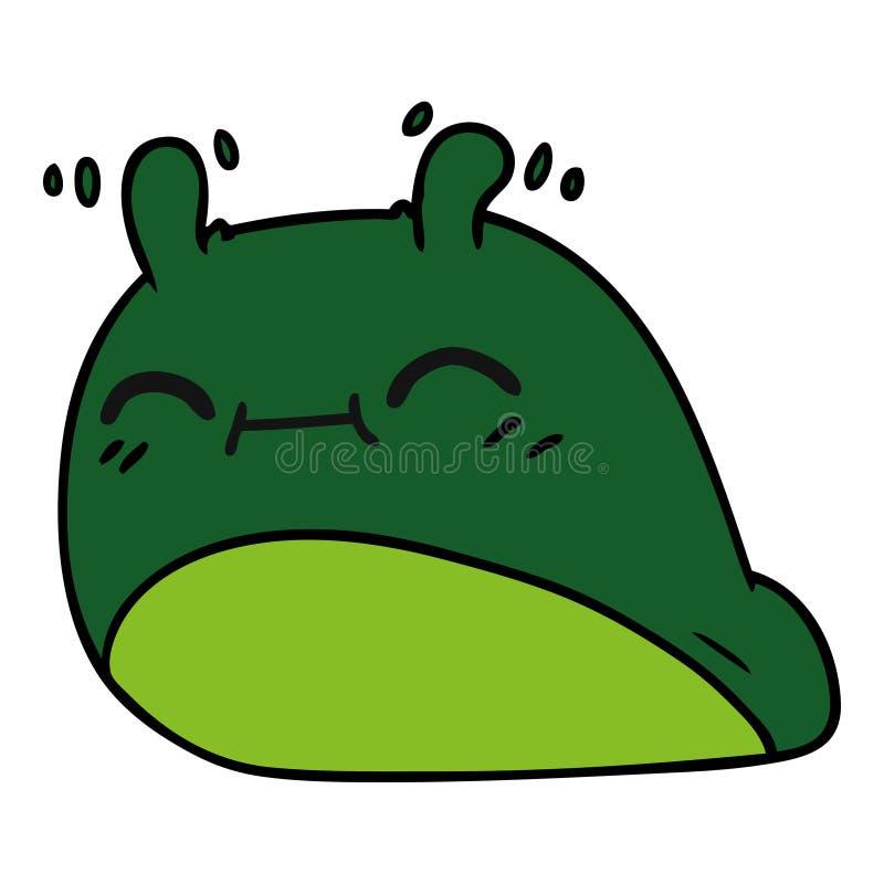 Cartoon of a happy kawaii slug. A creative illustrated cartoon of a happy kawaii slug vector illustration