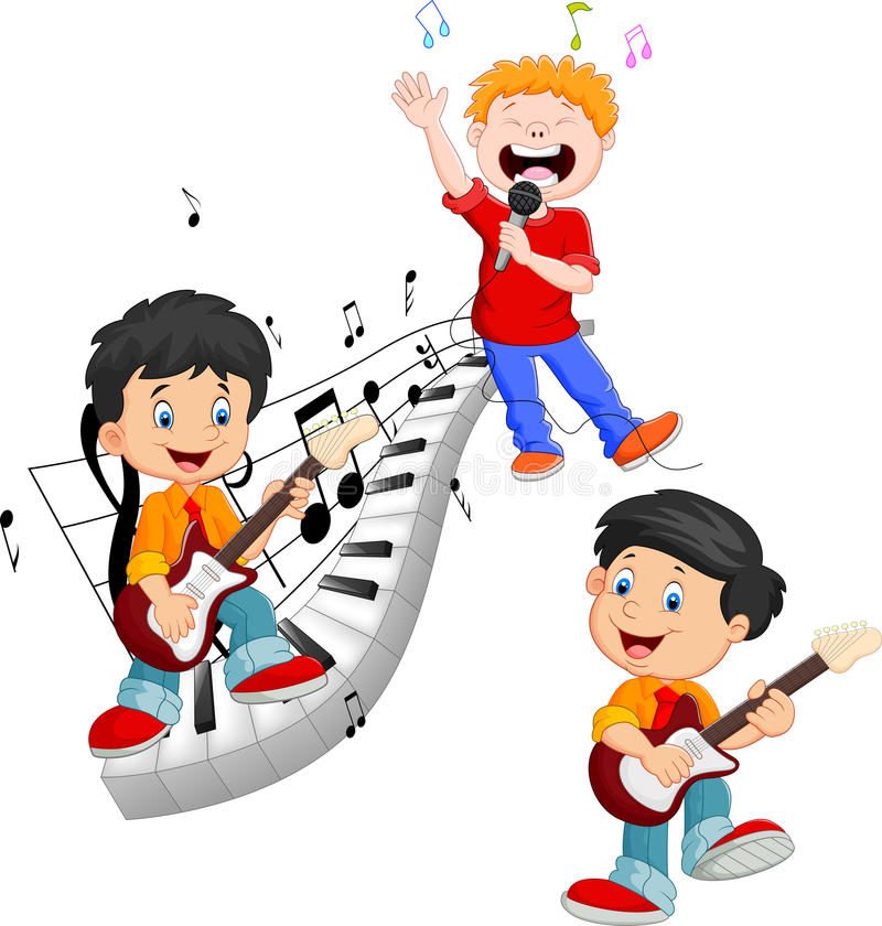 Cartoon happy kids singing and playing music vector illustration