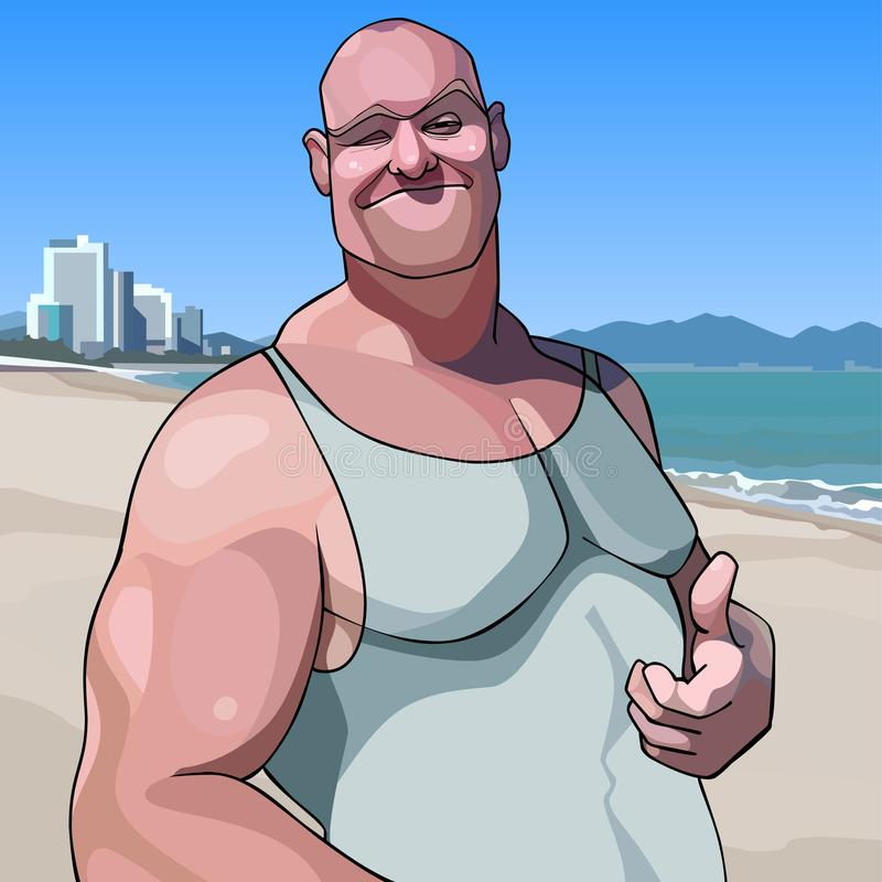 Cartoon happy male big guy shows an approving gesture thumb up. Happy male big guy shows an approving gesture thumb up stock illustration
