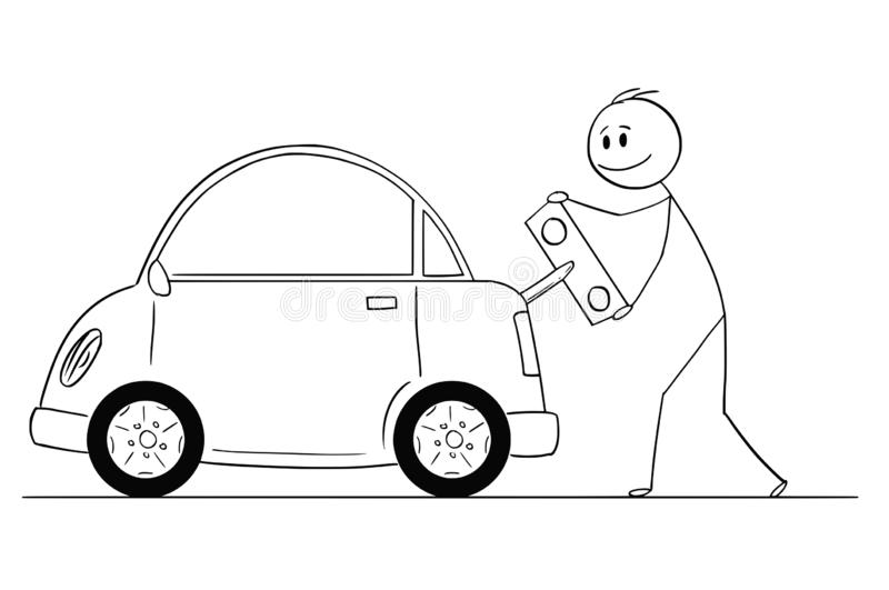 Cartoon of Happy Man Winding Up or Charging Electric Car by Toy Key. Cartoon stick drawing conceptual illustration of smiling man winding up or charging electric royalty free illustration