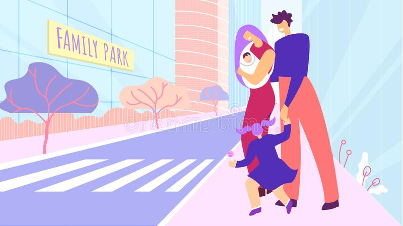Happy Married Couple with Kids Walk on City Street royalty free illustration