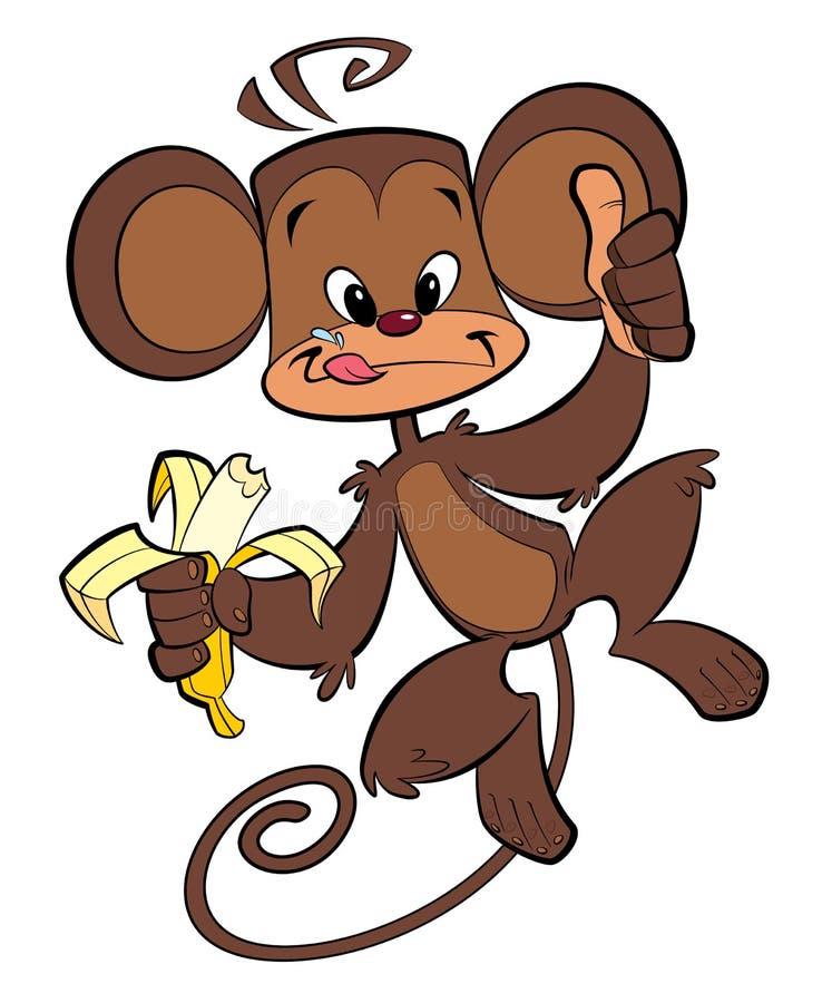 Free Cartoon Happy Monkey Eating Banana Stock Photo - 30274550