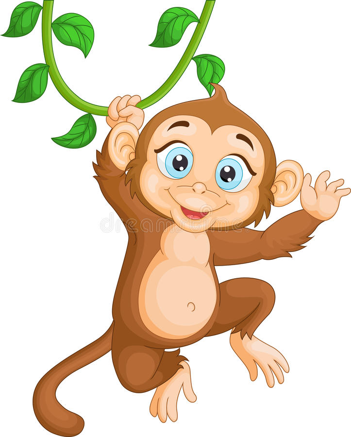 Cartoon happy monkey hanging vector illustration