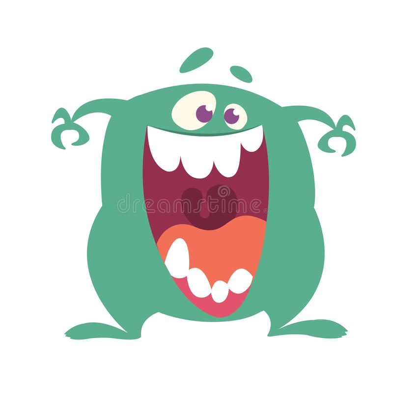 Cartoon Happy Monster With Big Mouth Laughing royalty free illustration
