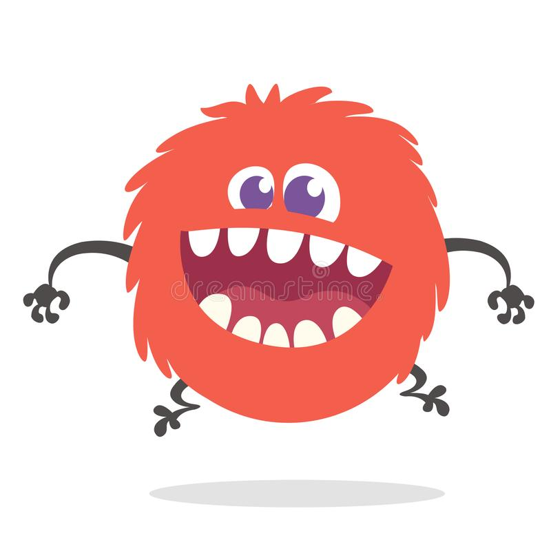Cartoon Happy Monster With Big Mouth Laughing. Vector illustration of red monster character. Halloween design stock illustration