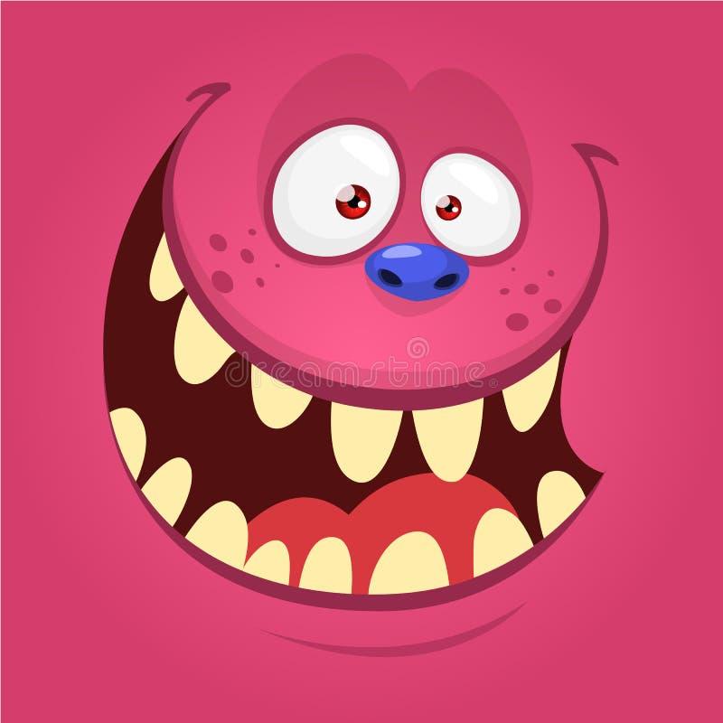 Cartoon happy monster face. Halloween monster mask. Funny monster avatar. Cartoon monster face . Vector Halloween pink happy monster square avatar. Design for t vector illustration