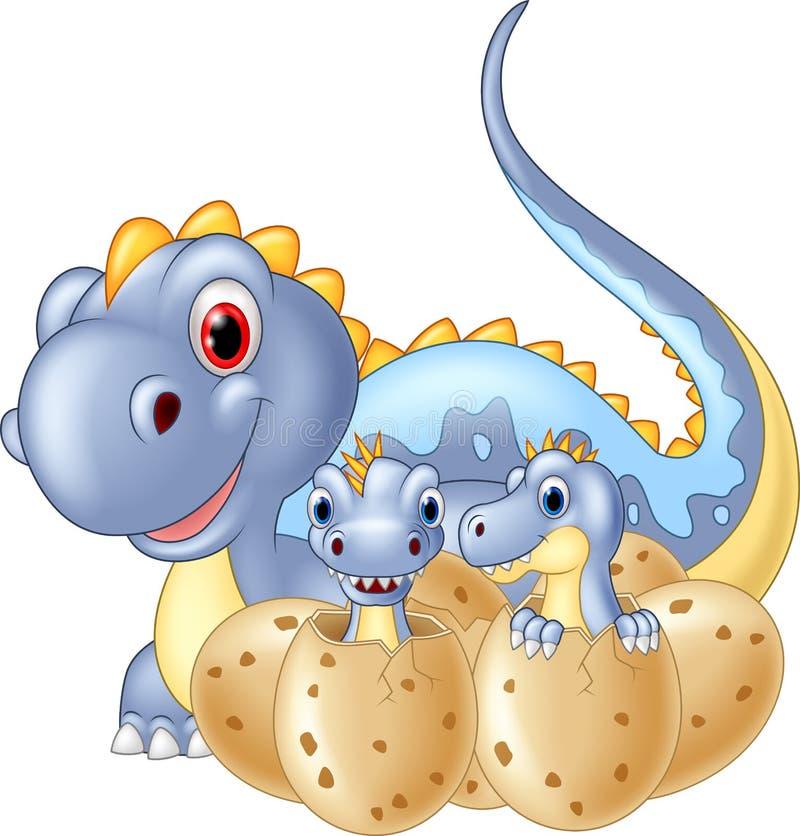 Cartoon happy Mother and baby dinosaur hatching. Illustration of Cartoon happy Mother and baby dinosaur hatching stock illustration