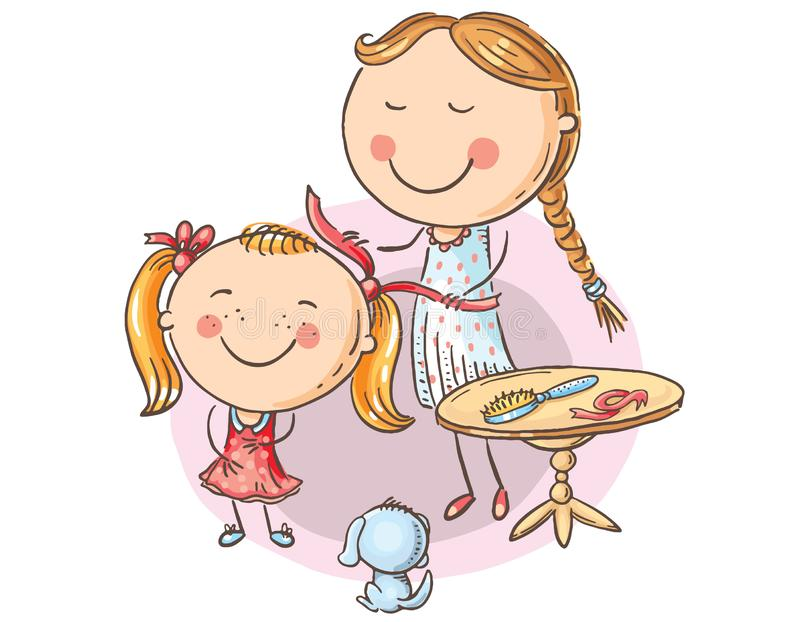 Happy mother combing her daughter's hair, cartoon graphics vector illustration