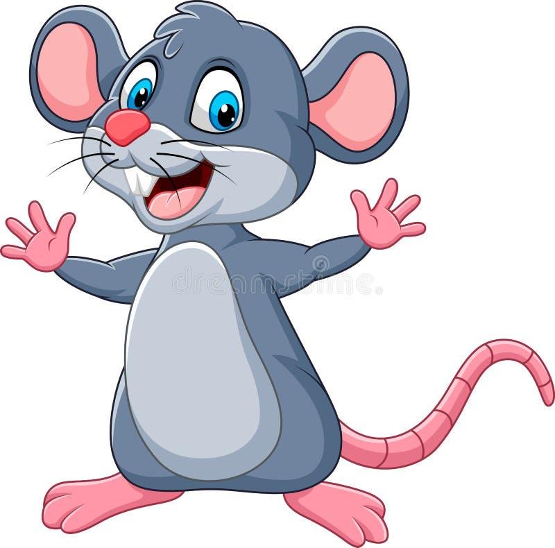 Cartoon happy mouse waving stock illustration