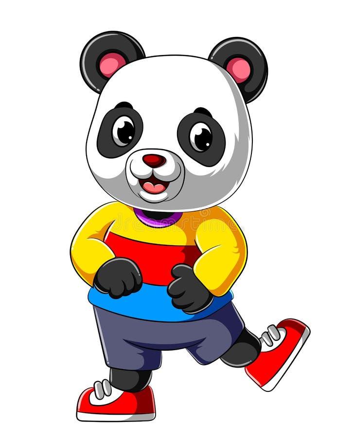 Cartoon happy panda with smile wearing sport shirt royalty free illustration