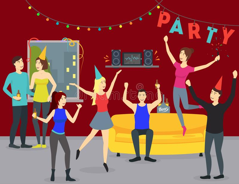 Cartoon Happy People in Party at Home Concept. Vector vector illustration