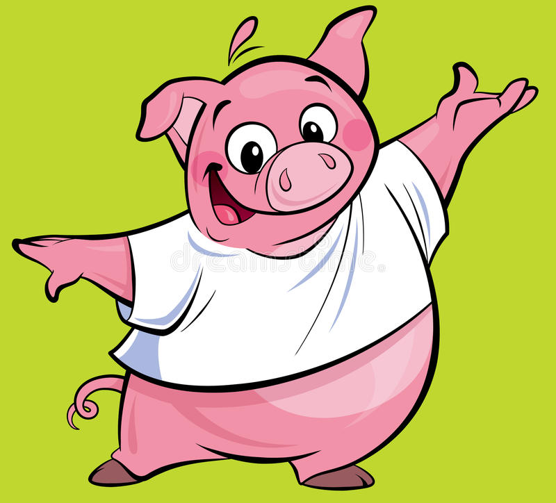 Cartoon happy pink pig character presenting wearing a T-shirt stock illustration