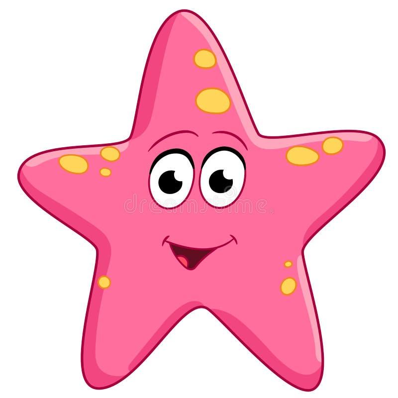 Cartoon happy pink starfish royalty free stock photo