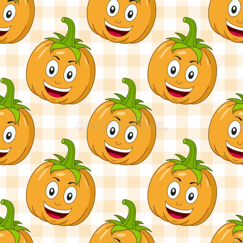 Cartoon happy pumpkin seamless pattern stock vector for Cartoon pumpkin patterns