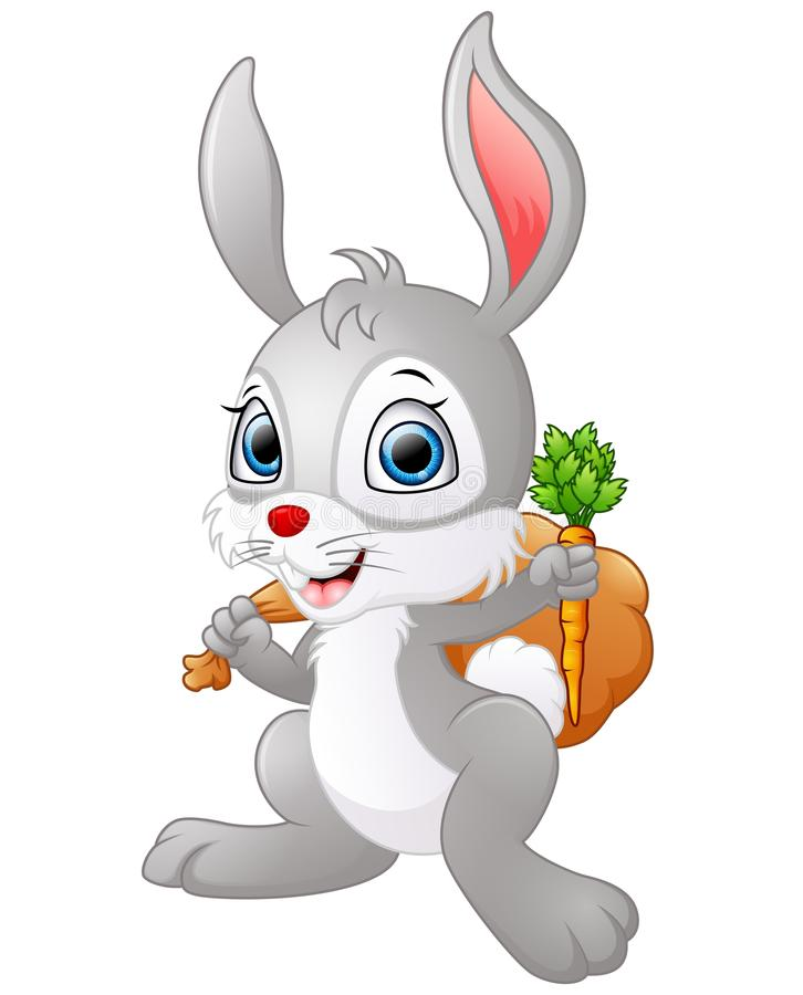 Cartoon happy rabbit holding a carrot and a sack vector illustration