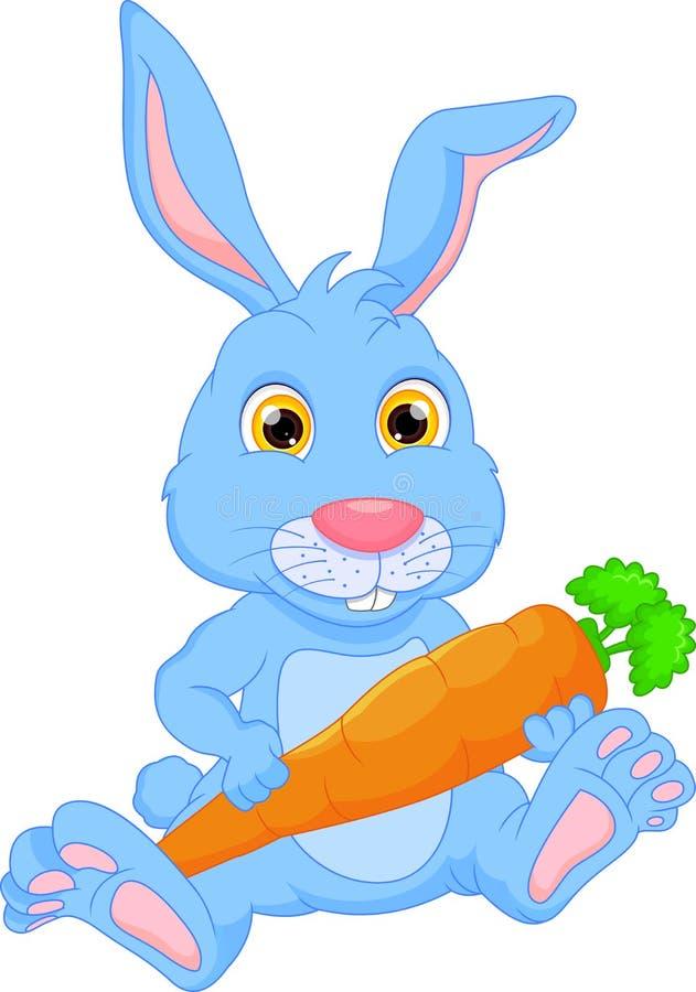 Cartoon happy rabbit holding carrot. Vector illustration of Cartoon happy rabbit holding carrot vector illustration