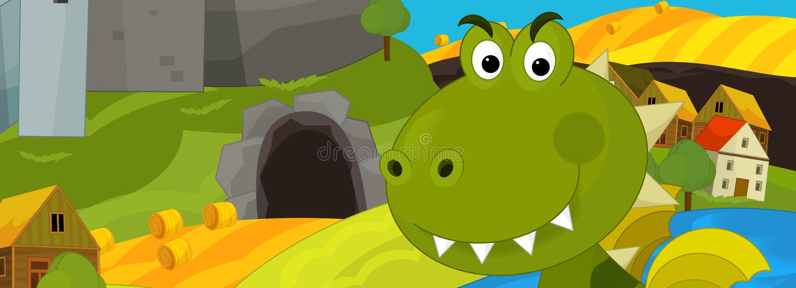 Cartoon happy scene - green dragon is going to eat something - man is watching from the hiding place royalty free illustration