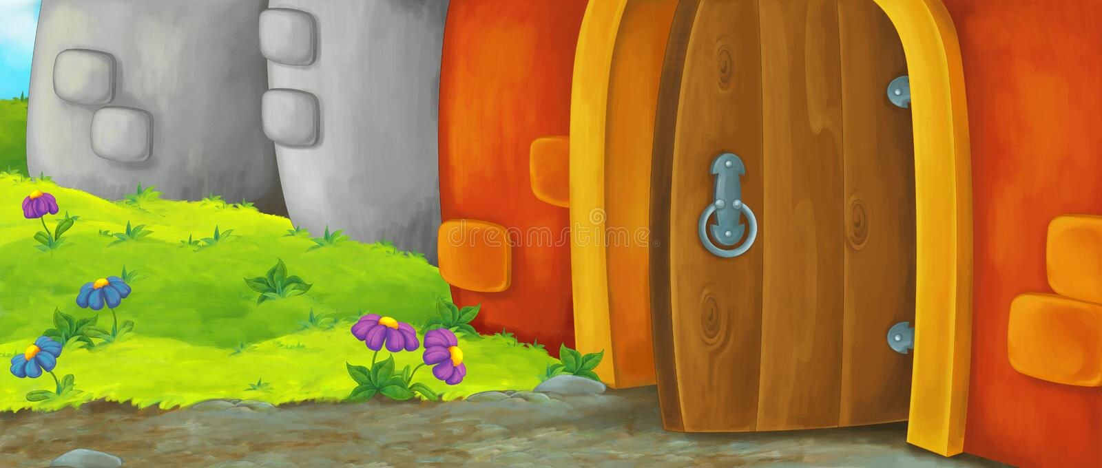 Cartoon happy scene of an old style entrance - stage for different usage vector illustration
